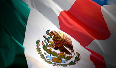Bandera de México y bandera de Japón