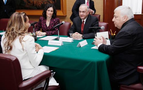 La nueva titular de la Coordinación General de Inclusión y Alfabetización Digital aprende.mx, Eugenia Garduño, durante la instalación del Consejo Técnico.