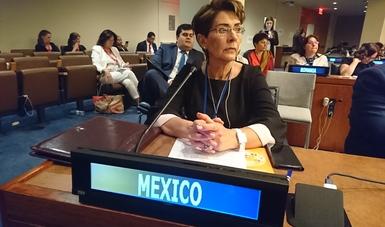 Doctora Mercedes Juan López en la sede de la ONU en Nueva York
