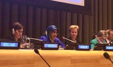 La secretaria de SEDATU en reunión en la ONU en Nueva York.