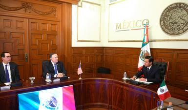El Primer Mandatario dio la bienvenida a la delegación y reconoció el interés del Gobierno de Estados Unidos por entablar un diálogo de alto nivel durante el proceso de transición del Gobierno de la República.