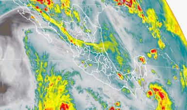 Imagen satelital de México con infrarrojo. Logo oficial de Conagua.
