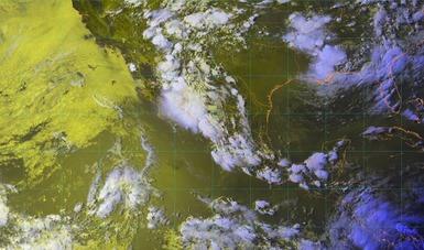 Mapa satelital que muestra nubosidad en estados de la República Mexicana. Logo oficial de la Comisión Nacional del Agua.