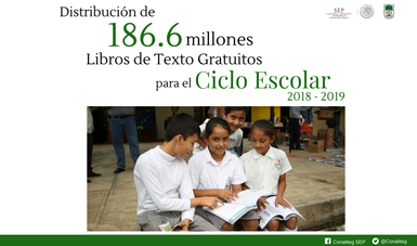 Cartel que marca los 186.6 millones de libros de texto gratuitos distribuidos.