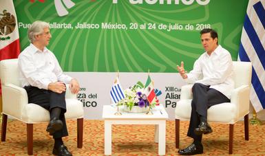 El Primer Mandatario revisó con el Presidente Tabaré Vázquez los avances en los compromisos que se establecieron durante la Visita Oficial del Mandatario uruguayo a México, a finales de 2017.