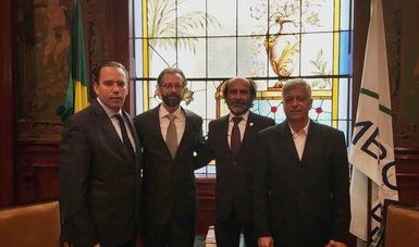 foto de el Representante de la (FAO), en México, Crispim Moreira; el Embajador de Brasil, Mauricio Carvalho Lyrio; el Presidente de CONAB, Francisco Marcelo Rodrigues y el Director en Jefe de ASERCA; Alejandro Vázquez Salido.
