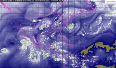 Imagen satelital de la república mexicana con filtro de humedad.