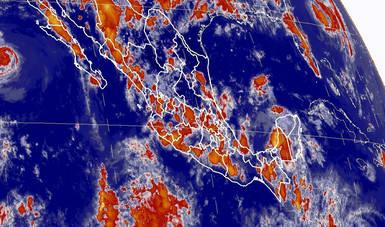 Mapa satelital de la república mexicana que muestra la nubosidad y temperatura en estados del territorio nacional.