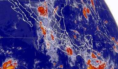 Imagen satelital que muestra la nubosidad y temperatura en estados de la república mexicana. Logotipo de Conagua.
