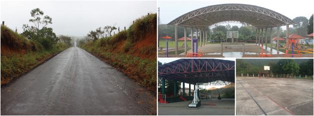 En la imagen se muestran caminos rurales y canchas deportivas construidas por la SEDATU, en Oaxaca y Tabasco, para mejorar las condiciones de vida de las familias que habitan en zonas rurales.