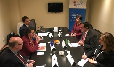 El Secretario del Trabajo y Previsión Social con la Ministra de Trabajo, Migraciones y Seguridad Social de España, Magdalena Valerio Cordero