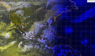 Imagen satelital de la república mexicana que muestra la nubosidad en los estados del territorio nacional. Logotipo de Conagua.