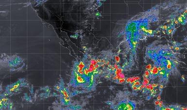 Imagen satelital que muestra la nubosidad y temperatura en estados del territorio nacional. Logotipo de Conagua.