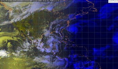 Imagen satelital que muestra la nubosidad en los estados de la república mexicana. Logotipo de Conagua.