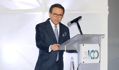 El Secretario de Economía en la la Reunión Anual de Industriales (RAI) 2018, lo acompaña el Subsecretario de Industria y Comercio de la SE, Rogelio Garza Garza.