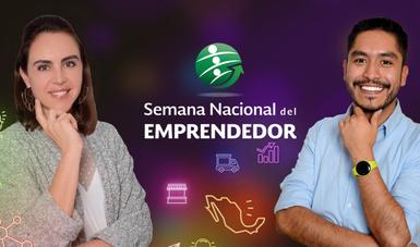 Mujer y hombre emprendedores en la Semana Nacional del Emprendedor 2018