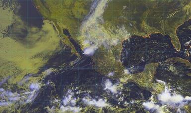 Imagen satelital de la república mexicana que muestra nubosidad en estados del territorio nacional. Logotipo de Conagua.