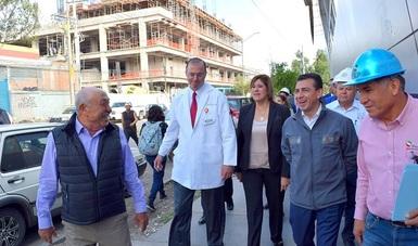 """El Comisionado Nacional del Seguro Popular, Antonio Chemor Ruiz, supervisó los avances de obra de lo que será el nuevo Hospital Central """"Ignacio Morones Prieto"""" que beneficiará a un millón 600 mil potosinos."""