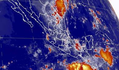 Imagen satelital que muestra la nubosidad en estados de la república mexicana. Logotipo de Conagua.