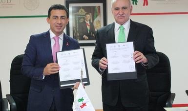 El Comisionado Nacional del Seguro Popular, Antonio Chemor Ruiz y el Director del Laboratorio Nacional de Políticas Públicas (LNPP) del CIDE (CIDE), Eduardo Sojo Garza Aldape, firmaron Convenio  de Colaboración.
