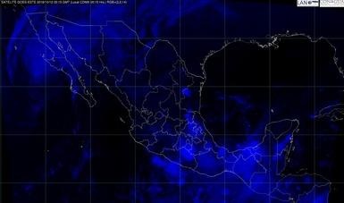 Imagen satelital de la república mexicana que muestra la nubosidad en estados del territorio nacional. Logotipo de Congua.