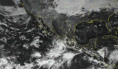 Imagen satelital del territorio nacional con filtros de vapor.  La Depresión Tropical 22-E se encuentra a 120 km de Punta San Telmo, Michoacán.