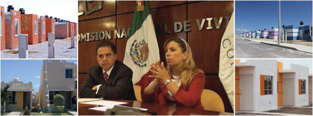 La directora general de CONAVI, Paloma Silva, al informar que se han reducido los costos y trámites para la construcción de viviendas en México. A su alrededor se muestran imágenes de las casas edificadas durante la presente administración.