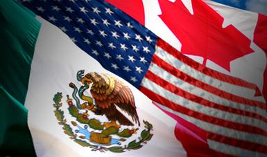 Imagen con las banderas de México, Estados Unidos y Canadá para ilustrar el nombre en español del nuevo Tratado comercial entre