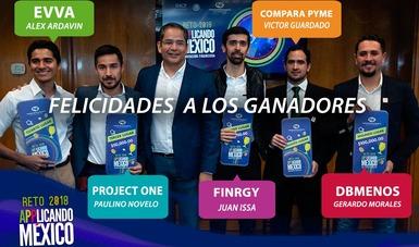 Ganadores del premio Applicando México. Alex Ardavin, de Evva; Paulino Novelo, de Project One; Juan Issa, de Finrgy; Víctor Guardado, de Compara Pyme; y Gerardo Morales, de DB Menos.