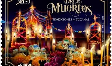 """El Servicio Postal Mexicano – Correos de México emitió una estampilla dedicada al Día de Muertos, como parte de la colección """"Tradiciones Mexicanas""""."""