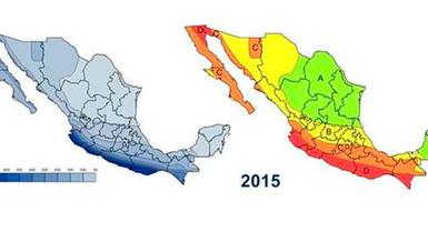 Mapa de localización de los sismos más importantes en México.