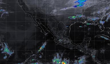 Mapa satelital de la república mexicana que muestra la nubosidad y temperatura en los estados del territorio nacional. Logotipo de Conagua.