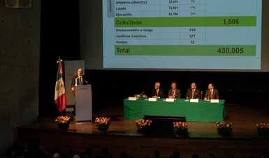 José Francisco Maciel Amaya, Presidente de la Junta Federal de Conciliación y Arbitraje, en su intervención