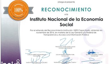 INAES recibe reconocimiento en materia de transparencia.