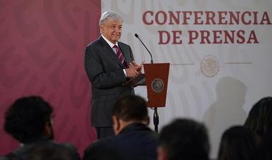 Presidente Andrés Manuel López Obrador durante conferencia matutina