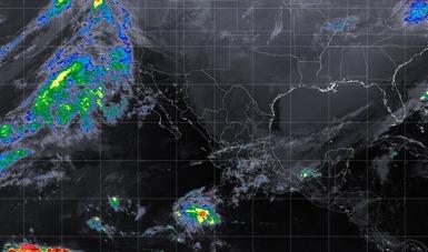 Foto satelital de la República Mexicana en donde se muestra el movimiento nuboso. Logotipo de la Conagua