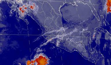 Mapa satelital de la república mexicana que muestra la nubosidad y temperatura en estados del territorio nacional. Logotipo de Conagua.