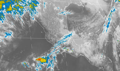 Imagen de satélite con filtros infrarrojos sobre el territorio nacional. Tormentas puntuales intensas se prevén en Chiapas y muy fuertes en regiones de Oaxaca, Tabasco y Veracruz.
