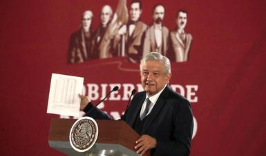 Presidente Andrés Manuel López Obrador en conferencia de prensa matutina del 19 de diciembre de 2018
