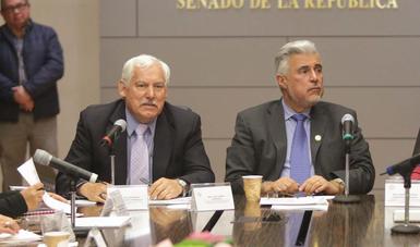 El titular de la SADER en el presidium dirigiéndose a los senadores.