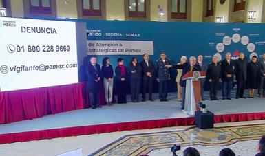 Conferencia de prensa en la que se presentó el plan conjunto para combatir el robo de combustibles