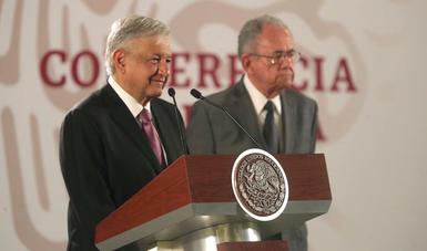 Presidente Andrés Manuel López Obrador y secretario de Comunicaciones y Transportes, Javier Jiménez Espriú