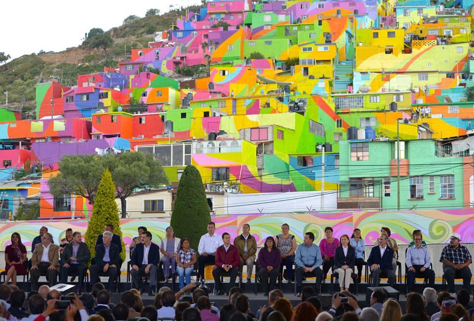 Panomrámica de la colonia Palmillas en la Inauguración del Macromural: Pachuca se Pinta.