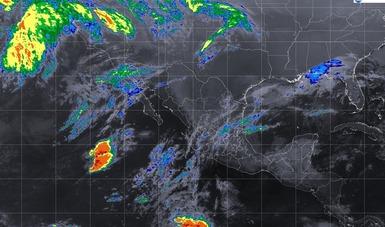 Imagen satelital de la república mexicana que muestra la nubosidad y temperatura en estados del territorio nacional.