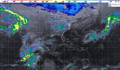 Imagen satelital de la república mexicana que muestra la nubosidad y temperatura en estados del territorio nacional.. Logotipo de Conagua.