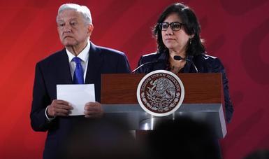 La secretaria de la Función Pública acompañó al presidente López Obrador en la conferencia matutina