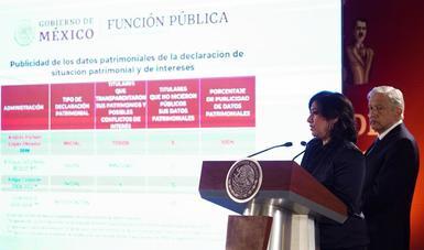 Secretaria de la Función Pública, Irma Eréndira Sandoval y presidente Andrés Manuel López Obrador durante conferencia matutina en Palacio Nacional