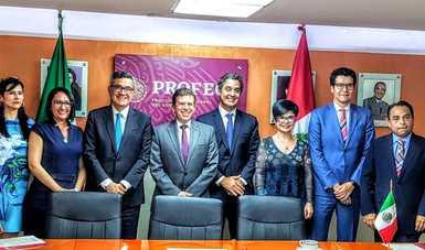 Ricardo Sheffield Padilla, titular de Profeco, recibe a su homologo en Perú, Ivo Gagliuffi Piercechi