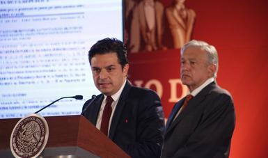 Zoé Robledo Aburto, durante la conferencia del Presidente Andrés Manuel López Obrador