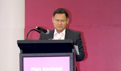 El Subsecretario de Industria y Comercio, Ernesto Acevedo Fernández, en discurso durante el Foro Estatal de Participación y Consulta para el Plan Nacional de Desarrollo 2019-2024.
